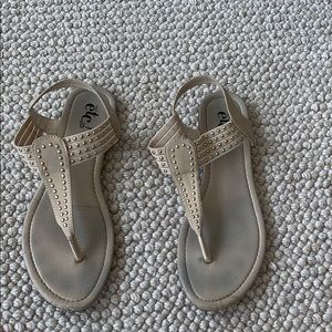 Cream sandals with gold beads
